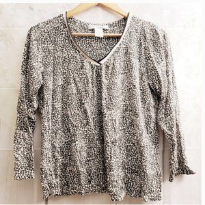 Ellen Tracy Leopard Animal Print Shirt Top L